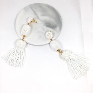 NWOT Anthro BaubleBar White Beads Tassels Earrings
